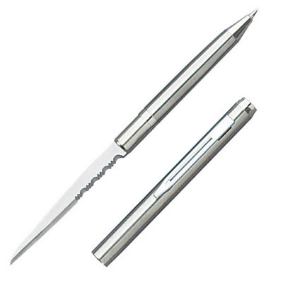 "Silver Ink Pen Knife - 2.25"" Half Serrated Stainless Steel Blade - 5002SA"