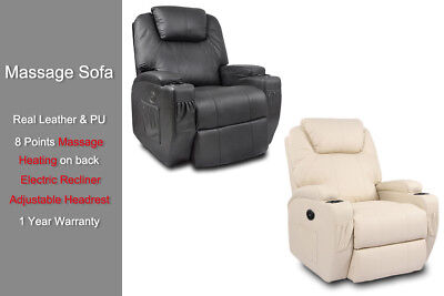 Leather Recliner Electric Heat Massage Chair Sofa Armchair Adjustable Headrest