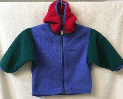 Patagonia fleece hooded jacket 24 months (blue/red/green)