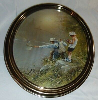 "Vintage Home Interior HOMCO Oval DAD & BOY FISHING Picture Measures 18""x22"""