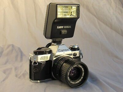 Canon AE-1 Program Camera Body w/ 35-70mm F3.5-4.5 FD Zoom Lens - Speedlite 188A