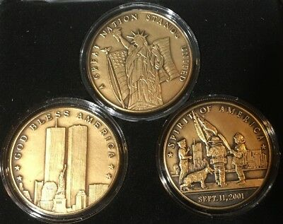 World Trade Center 3 Pc Bronze Coin Collection