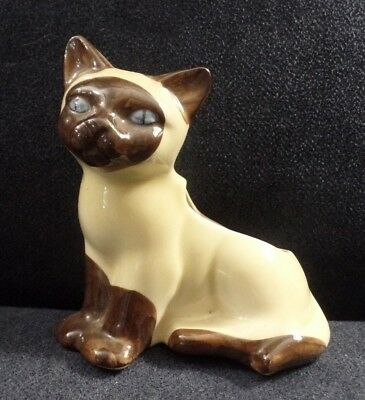 Sweet Vtg Pottery American Bisque? Siamese Cat Planter Blue Eyes VGUC