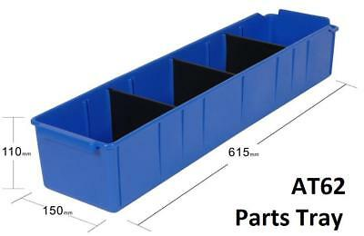 AT62 Pack of 12 VISIPLAS Parts Trays 615x150x110mm incl. 3 Dividers