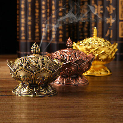 Chinese Lotus Incense Burner Holder Flower Statue Censer Home Room Decoration