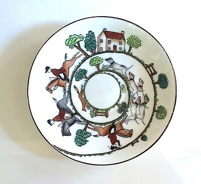 "Crown Staffordshire Bone China 6 1/4"" Small Bread And Butter Plate Hunting Scene"