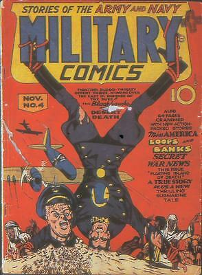Military Comics #4 Photocopy Comic Book, Blackhawk, Miss America