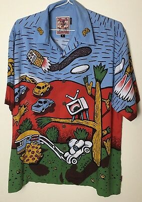 "Vintage MAMBO LOUD Shirt Size Large ""Long Weekend"" By Reg Mombassa 1996"