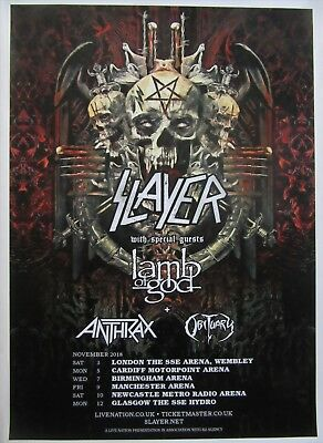 SLAYER UK Tour 2018 concert poster / newcastle manchester london glasgow cardiff