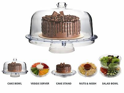 Homeries Multi-Purpose 6 in 1 Cake Stand with Dome Lid - Multifunctional Serving