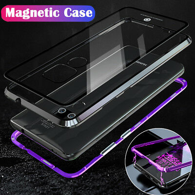 Magnetic Adsorption Metal Case Glass Back Cover For Huawei Mate 20 Pro Lite P20