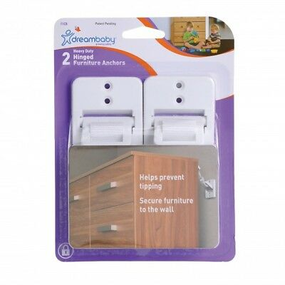 New Dreambaby Heavy Duty Hinged Furniture Anchors Straps 2 PACK Dream Baby