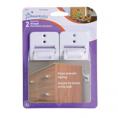 New Dreambaby Heavy Duty Hinged Furniture Wall Anchors Straps 2 PACK Dream Baby