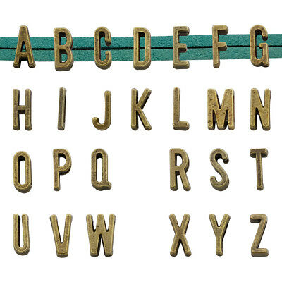 25pcs Alphabet Slide Letter Charm, Antique Bronze Tone,Metal A-Z for Bracelet