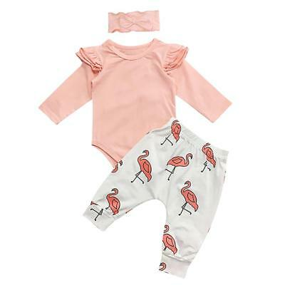 Newborn Infant Baby Girl Cartoon Tops Pants Legging Outfits Clothes