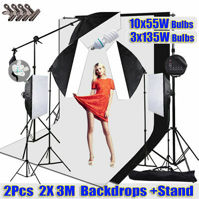 Photo Studio Softbox Continuous Lighting Boom Set 2 Backdrops Support Stand Kit