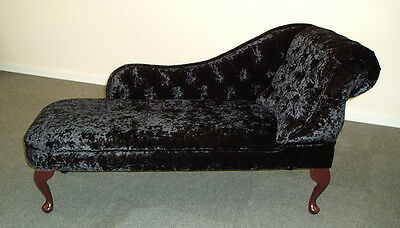 Chaise Longue/Day Bed in a Luxurious Black crushed velvet Fabric NEW