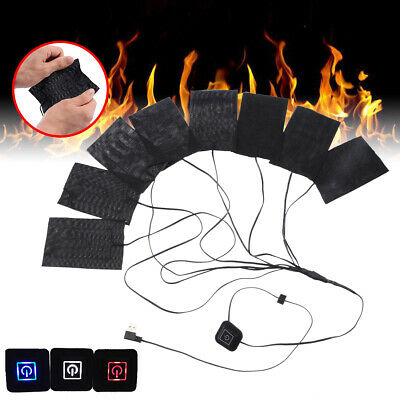 8 in 1 USB Electric Heating Pads Heated Gloves Clothes Adjustable Heater Sheet