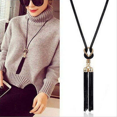 Metal Black Gold Chain Knotted Long Tassel Statement Necklace For Ladies N7