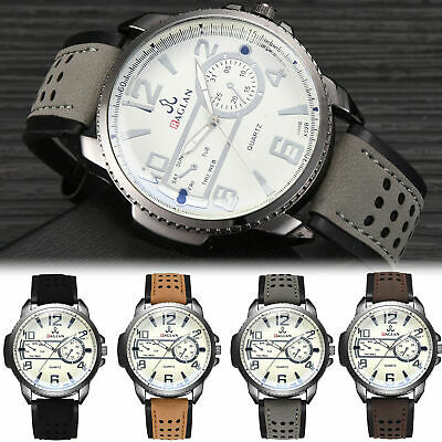 Men's Military Watch Date Leather Strap Army Sports Analog Quartz Wrist Watches