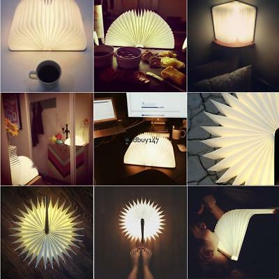 Portable Wooden Folding LED Flip Book Lamp Magnetic Night Light Warm GDY7