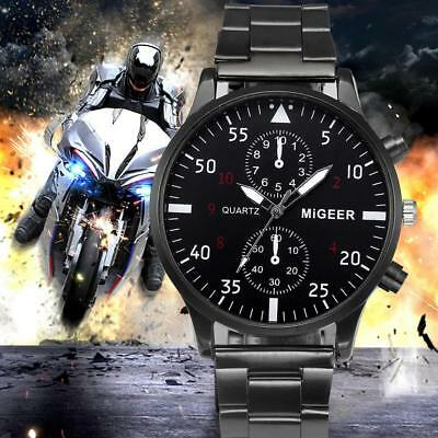 Migeer Steel Band Quartz Men's Wristwatches Couple Lover Gifts Watches @S*◇