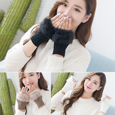 Solid Color Women Soft Winter Fashion Warm Knitted Plush Edge Half Finger Gloves