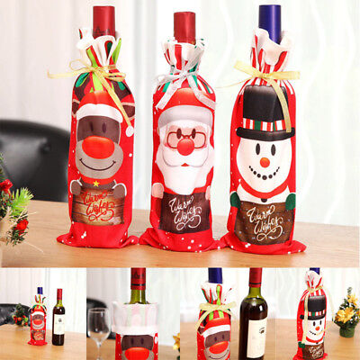 Xmas Wine Bottle Bag Merry Christmas 2018 Gift Santa Claus Sequins Decorations