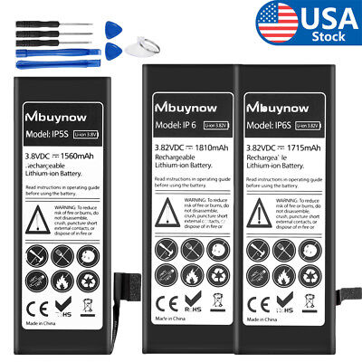 New High Capacity Battery Replacement W/Fix Tools for iPhone 5 5S 6 6 6S 6Plus 7