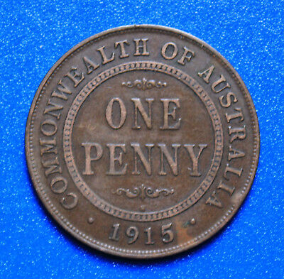 1915H KGV  - CIRCULATED AUSTRALIAN PENNY -RARE- HEATON MINT,  Great Investment