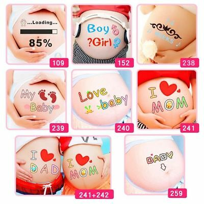 Pregnant Women Belly Painting Photo 4 Pcs Stickers Funy Props Maternity Therapy