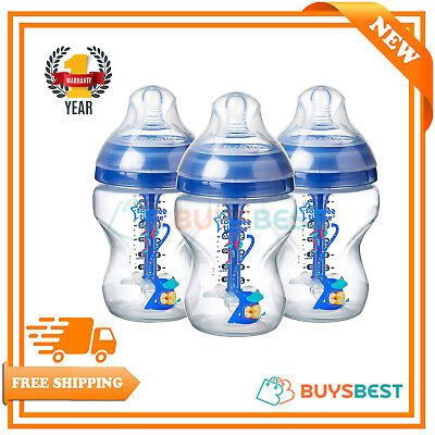 Tommee Tippee Bottles Decorated, Anti-Colic Blue Baby Bottles, 260 ml, 3Pack