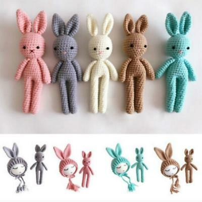 Baby Newborn Crochet Knitted Hat Rabbit Toy Photo Photography Prop Gift ONE