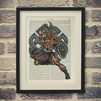 Vintage Encyclopedia Art Print Viking Warrior Antique Book Page Thor God Norse