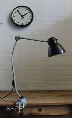 """LBL GREY"" Desk Articulation Lamp Bauhaus Design Rotary Switch Light Vintage"