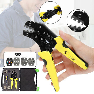 JX-D5 5 in 1  Dies Cable Wire Ratchet Crimper Crimping Pliers 4 Spare Tool kit