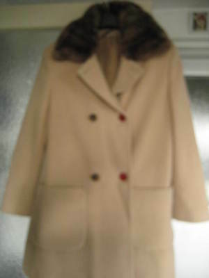 Women's Vintage Camel with faux fur collar Winter Coat- CANDA label Size 10