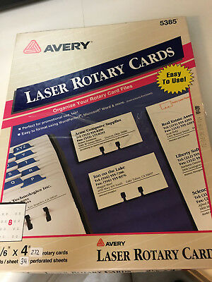 """AVERY LASER ROTARY CARDS 2 1/6"""" x 4"""" 5385 New other"""