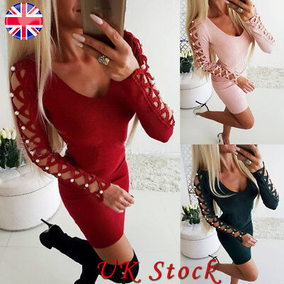 Women Bandage Long Sleeve Bodycon Mini Dress Evening Cocktail Party V Neck Dress