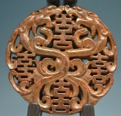 Exquisite Chinese old jade 2 sides carved*beast* face pendant sm05