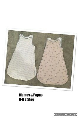 2 x MAMAS AND PAPAS BABY SLEEPING BAGS 0-6 MONTHS - 2.5 TOG, UNISEX