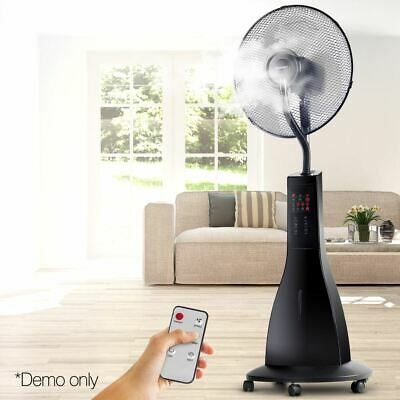 Devanti Portable Mist Cool Fan Remote Control 3 Speed Adjustable Water Breeze