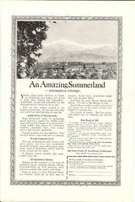 1922 California an Amazing Summerland Vacation Vintage Ad
