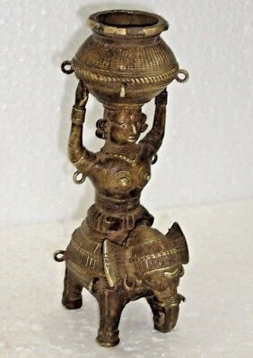 Vintage Old Brass Temple Home Oil Lamp With Lady Statues Figure Rich Patina