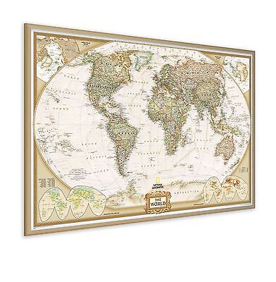 NG Pinboard World Map with Wood Frame, includes a packet of twelve flag pins