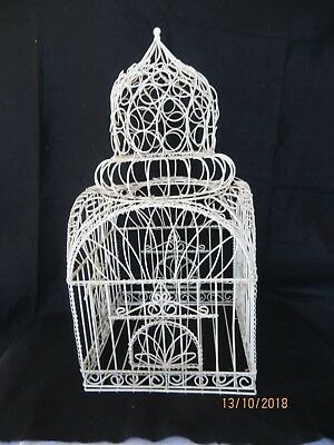 """Vintage Decorative Cathedral Style Wrought Iron Metal Cage 24""""  x  12"""""""