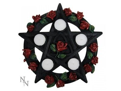 Pentagram Rose Tealight  Candle Holder Wicca Pagan Nemesis Gothic Decor Gift