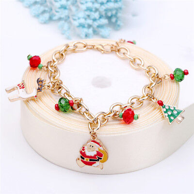 Christmas Jewelry Charm Bracelet Santa Claus Women's Xmas Bangle Pendant LH