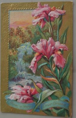 Beautiful Vintage Embossed Postcard - From a Very Dear Friend - 1911 - NICE CARD