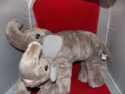 """The Greatest Show on Earth Circus Elephant Plush Stuffed Animal with Baby 17"""""""